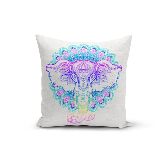 Rainbow Elephant Mandala Pillow Cover