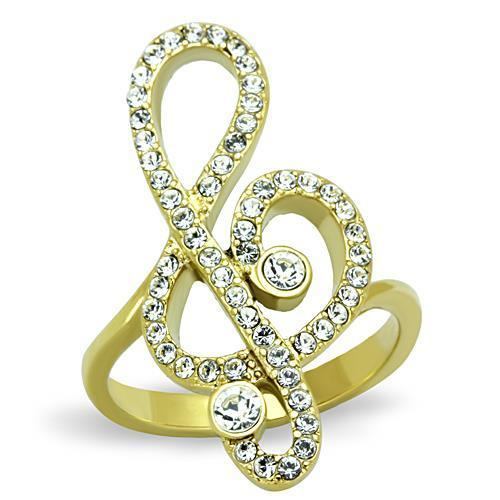 Gold (Ion Plating) Stainless Steel Treble Clef Ring - TK1714 IP - Hoku Gallery