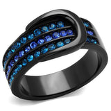 Stainless Steel Ring with Blue Crystals, IP Black(Ion Plating- TK2549 - Hoku Gallery