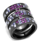 Stainless Steel Ring with Purple Crystals-Light Black (IP Gun) TK2734 - Hoku Gallery
