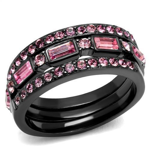 Stacking Ring, Light Black Stainless Steel w/ Pink Crystals