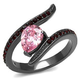 Stainless Steel Ring with Pink Crystal-Light Black (IP Gun) -TK2972 - Hoku Gallery