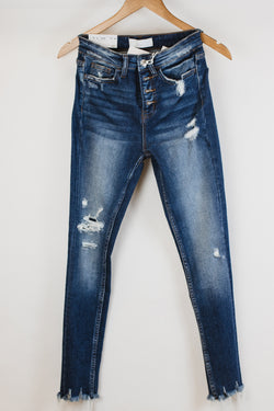 High Rise Patched Denim