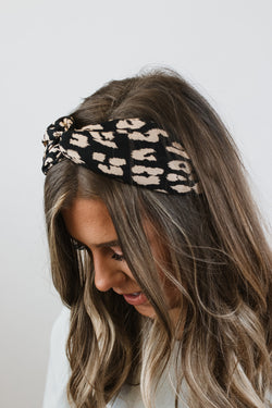 Black Leopard Headband
