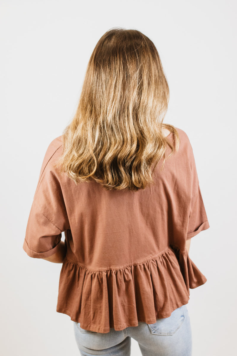 Peplum Wood Top