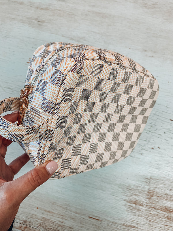 Checkered Makeup Bag