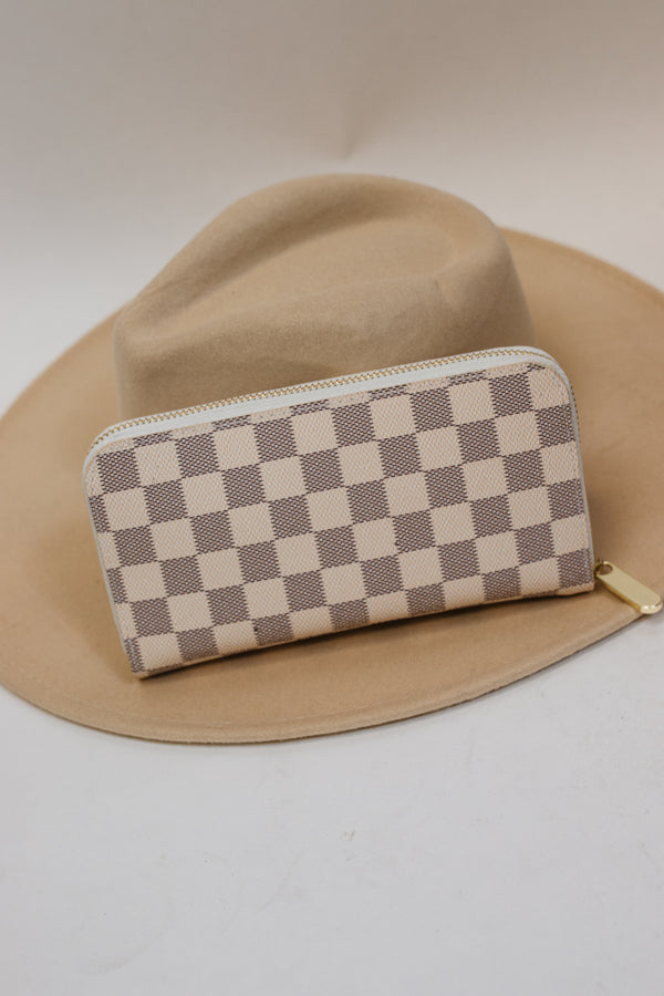 Checkered Zip Up Wallet