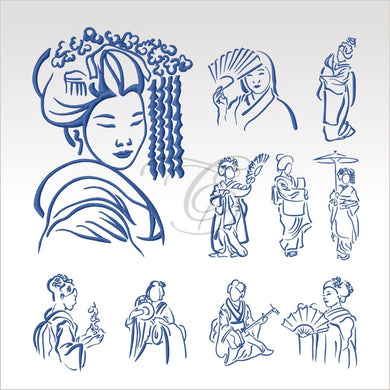 Outline Geishas - Set And Singles 4 X Inch (10 10 Cm) Hoop Asian