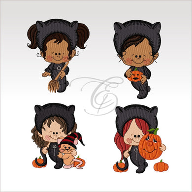 Halloween Kids - 4 Designs X Inch (10 10 Cm) Hoop Set 4X4 Children