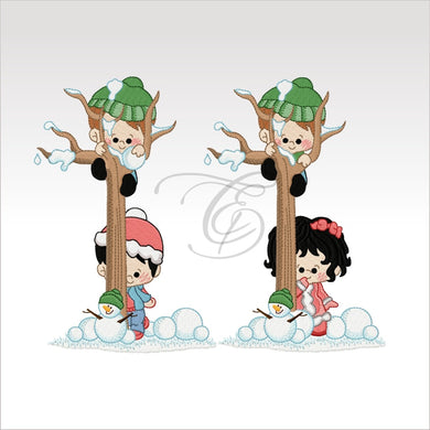 Xmas Winter Children - Machine Embroidery Designs Kids Set Of 2 Great For Curtains
