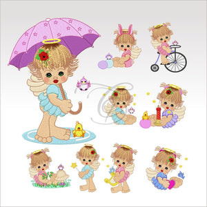 Precious Angels - 9 Designs 4 X Inch (10 10 Cm) Hoop Angel Set 4X4