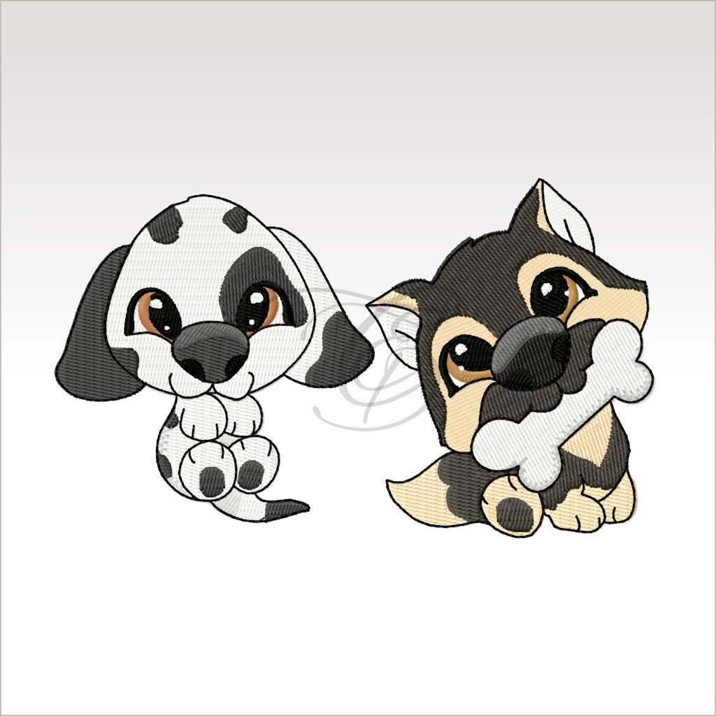 Puppies - 2 Designs 3X3 And 4X4 9 Dogs