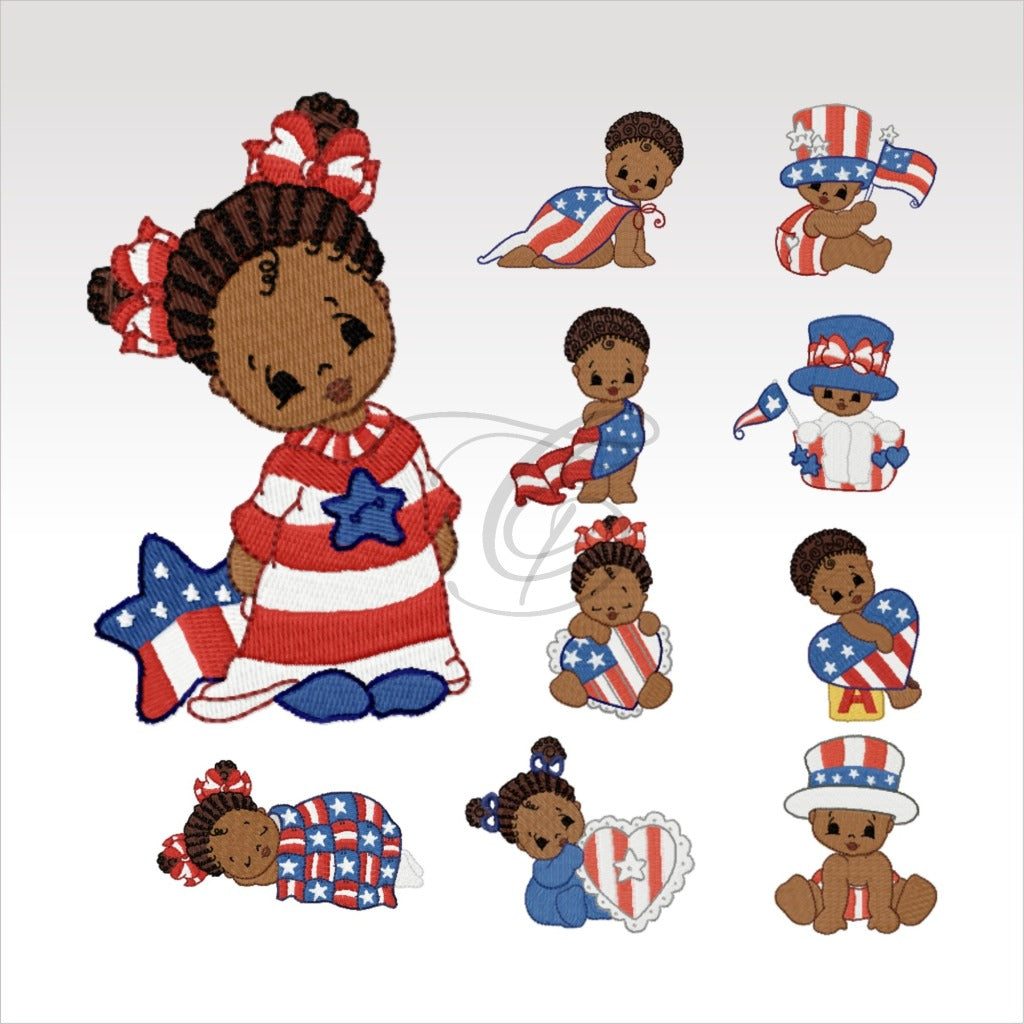 Independence Day Babies - 10- 4 X Inch (10 10 Cm) Hoop Little Lady Set 4X4 Children