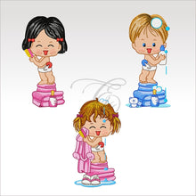 Bath Time Kids - 3 Designs 4 X Inch (10 10 Cm) Hoop Babies