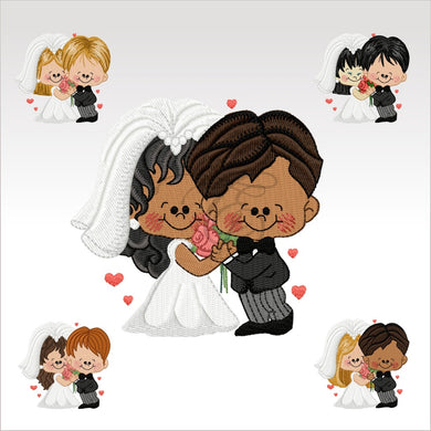 Wedding Couples - 5 Designs 4 X Inch (10 10 Cm) Hoop Couple Set 4X4 Weddings