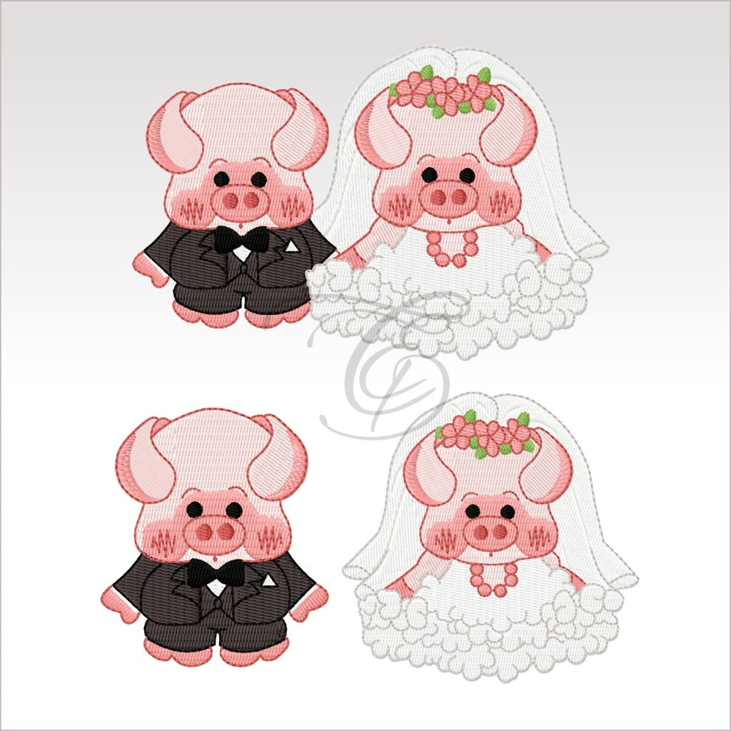Wedding Pigs - 3 Designs 4 X Inch & 5X5 Respectively(10 10 Cm) Hoop Set 4X4 And