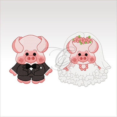 Wedding Pigs - 3 Designs 4 X Inch & 5X5 Respectively(10 10 Cm) Hoop Couple 4X4 And