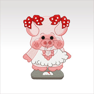 Piggies - 2 Designs 4 X Inch & 5X5 Respectively(10 10 Cm) Hoop Dieting Pig 4X4 Pigs
