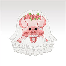 Wedding Pigs - 3 Designs 4 X Inch & 5X5 Respectively(10 10 Cm) Hoop Pig Bride 4X4