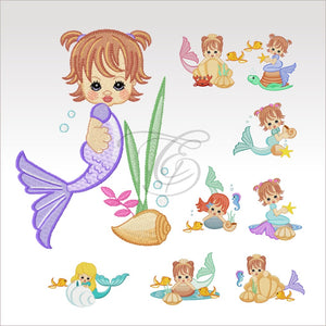 Precious Mermaids - 9 Designs 4 X Inch (10 10 Cm) Hoop Plus Variation Set