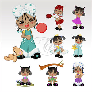 Little Ladies - 8 Designs 4 X Inch (10 10 Cm) Hoop Lady Set 4X4 Children