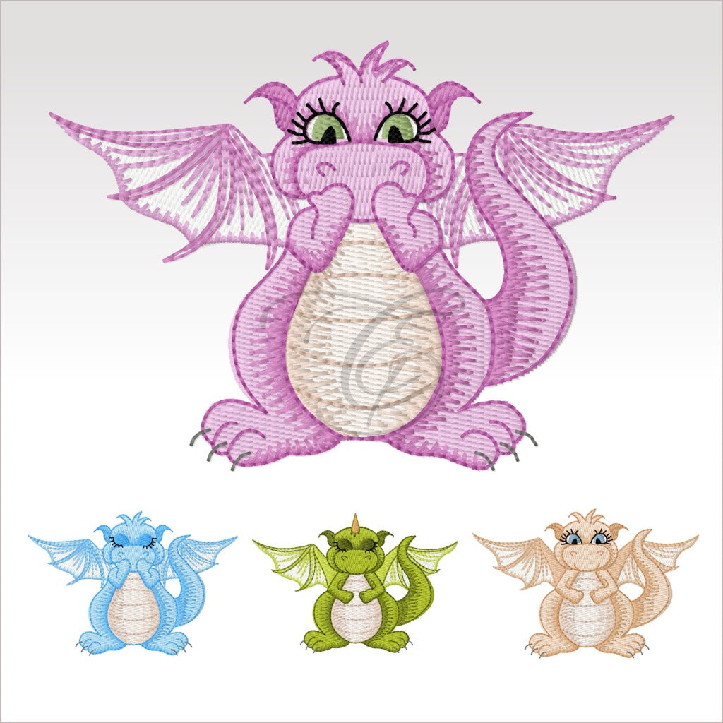 Mini Daishi Dragon - 4 Designs X Inch (10 10 Cm) Hoop Set 4X4 Dragons