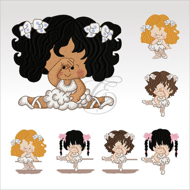Ballerina Kids - 7 Designs Set Or Singles 4 X Inch (10 10 Cm) Hoop Of 4X4 Ballerinas