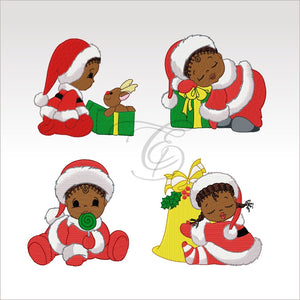 Xmas Babies - Machine Embroidery Designs 4X4 Hoop Set Of 4 Baby Set Children