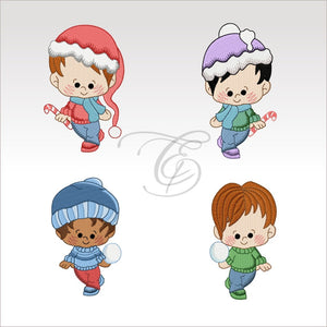 Winter Boys - 4 Designs X Inch (10 10 Cm) Hoop Boy Set 4X4 Children