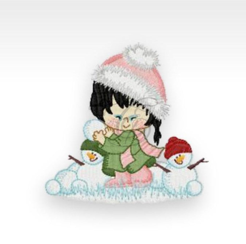 Xmas Winter Girl - Machine Embroidery Design 1 4X4 Hoop. Children