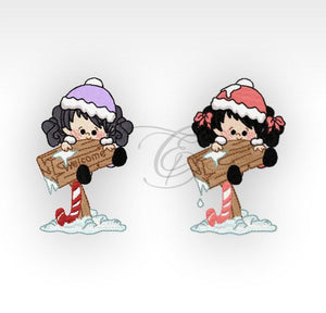 Xmas Winter Girls - Machine Embroidery Designs Welcome 4X4 Hoop Children