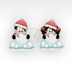 Xmas Winter Children - Machine Embroidery Designs Kids Set Of 2 4X4 Hoop