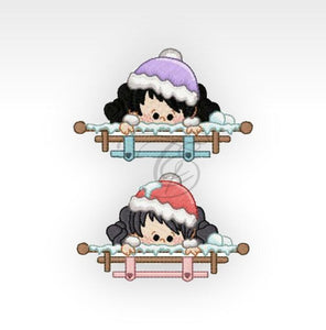 Xmas Winter Girls - Machine Embroidery Designs Window 4X4 Hoop Children