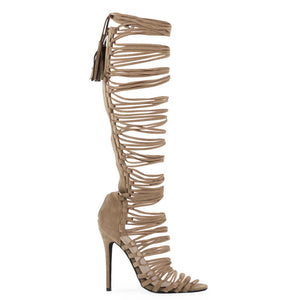 Womens Zip Up In Taupe Faux Suede Estelle Strappy Gladiator Heel In UK Size 3-8