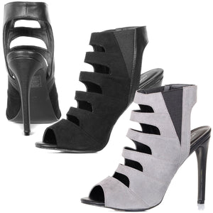 Cut Out Stiletto Heel Ankle Boots Peep Toe Gladiator Shoes Sandals Size Womens