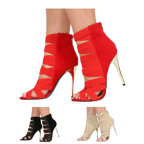 LADIES WOMENS HIGH HEEL ELASTIC STRAPPY GLADIATOR CAGED PEEPTOE SHOES SIZE 3-8