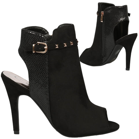 Marisa Womens High Heel Stiletto Studded Strap Peep Toe Ankle Boots Ladies Shoes