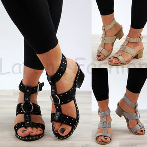 New Womens Mid Block Heel Sandals Studs Peep Toe Buckle Ankle Strap Comfy Shoes