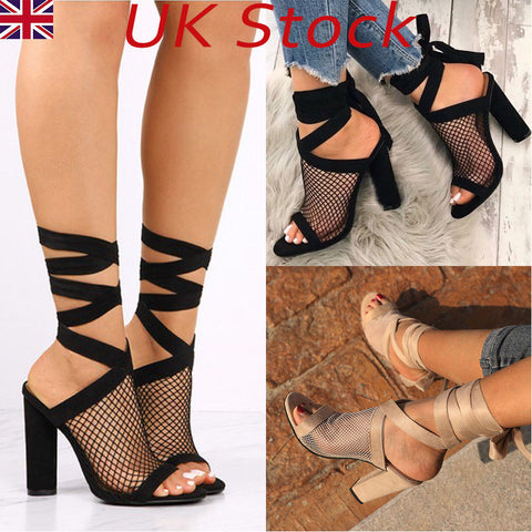UK WOMENS LACE UP SANDALS HIGH HEELS MESH SEXY GLADIATORS SLINGBACKS SHOES SIZE
