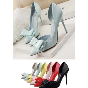 Sexy Womens Bowknot PU Leather Pointed High Heels Party Work Court Pumps Shoes