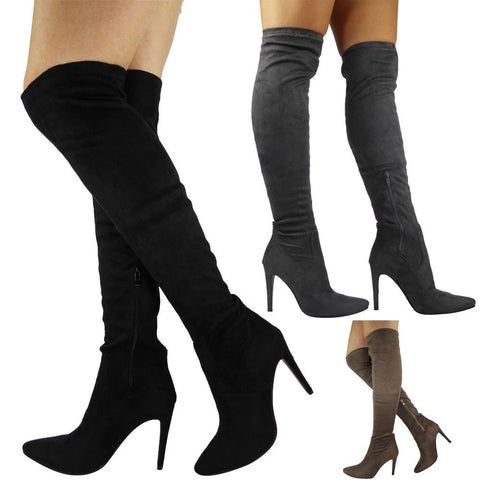 Womens Ladies Thigh High Boots Over The Knee Faux Suede Stiletto Heel Shoes Size