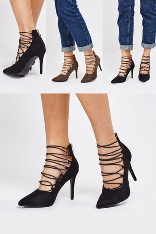 Womens Ankle Strap Court Heels Lace up High Heeled Pointed Toe Shoes Gladiators