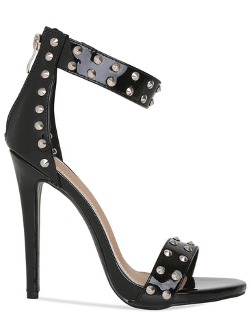 Womens Studded Detail Strappy Heels In Black PU