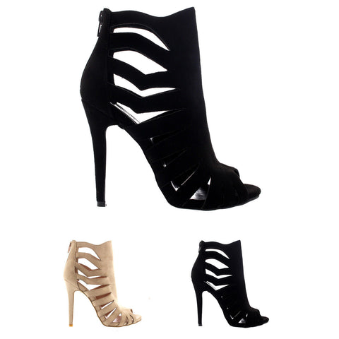 Womens Gladiator Caged High Heels Open Toe Cut Out Stilettos Ankle Boots UK 3-10