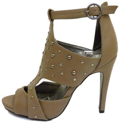 LADIES TAUPE STRAPPY STUDDED SANDALS PEEP-TOE BUCKLE ANKLE SHOES PUMPS SIZES 3-8