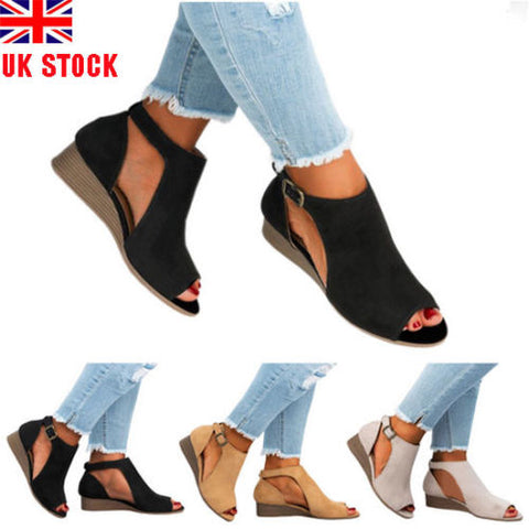 WOMENS WEDGE HEELS LADIES SUMMER PEEP TOE SANDALS BOOTS ANKLE SHOES SIZE 3 - 8