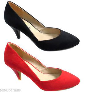 Womens Suede Low Kitten Heel Mary Jane Court Shoes Party Formal Wedding Ladies