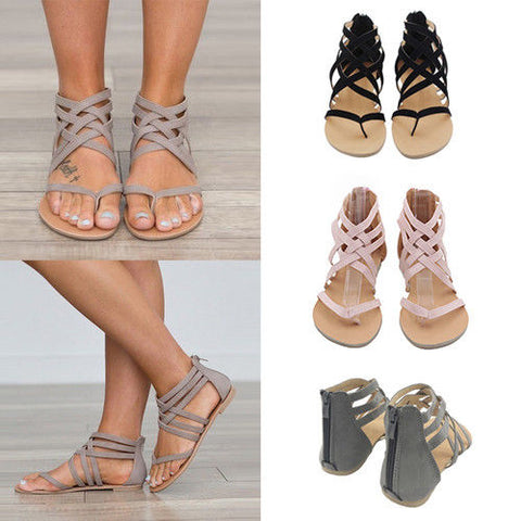 UK Stock Women Flats Sandles Ladies Zip Back Gladiator Sandals Summer Soft Shoes