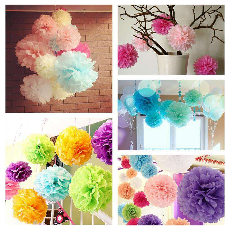 "12"" Apple Green Paper Tissue Fluffy Pom Pom Flower Balls For Bridal Shower Wedding Birthday Party - 12 PCS"