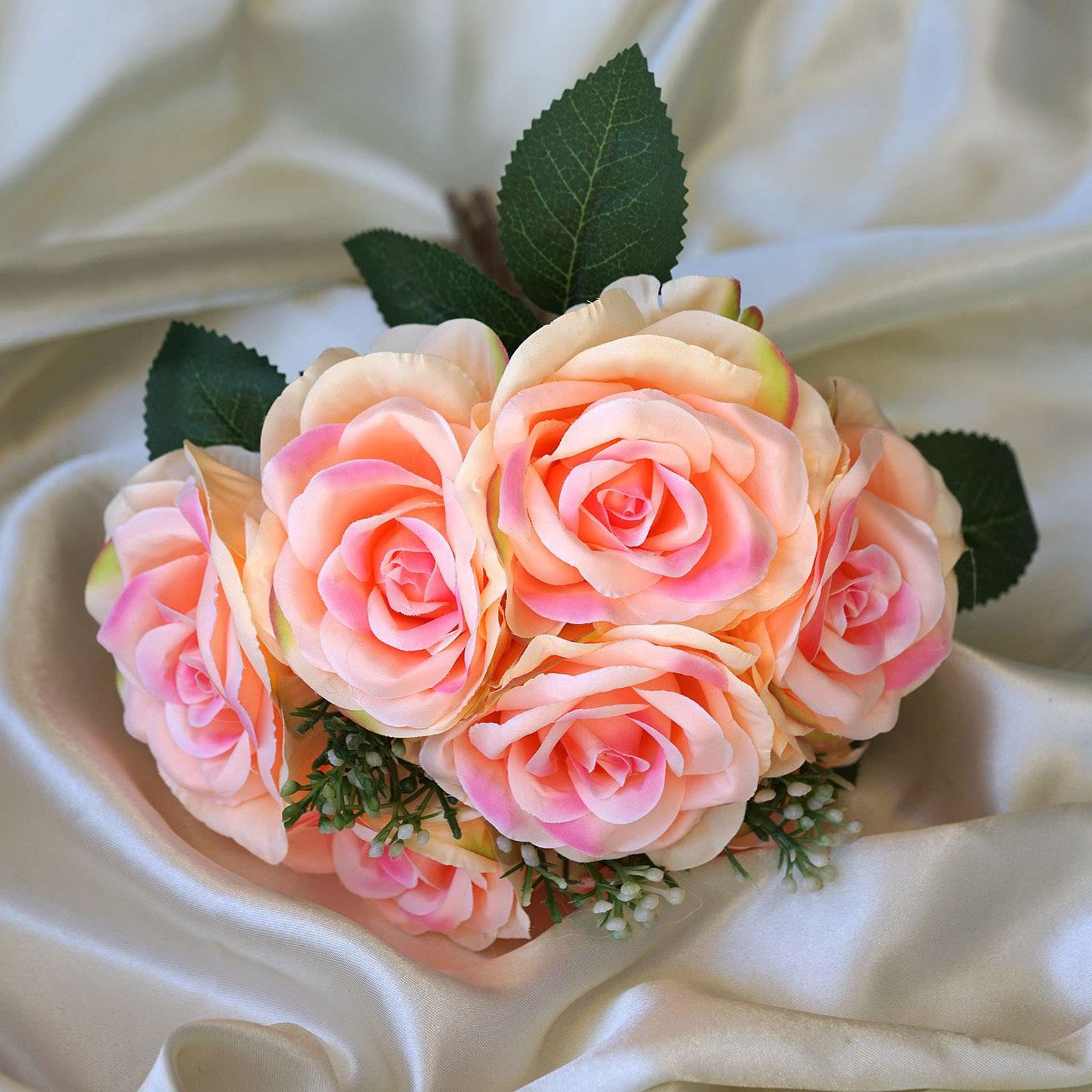 4 Pack Pink Artificial Open Rose Flowers Bridal Bouquet ...